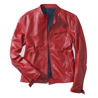 レザージャケットの着こなし・赤のコーデ