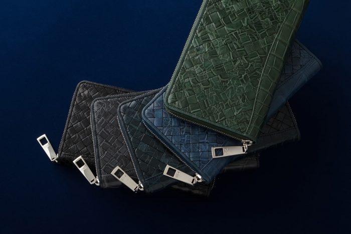 周囲と差が付くクロコダイルの編み込み長財布