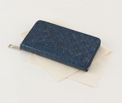 クロコダイルの編み込み長財布